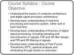 course syllabus course objective