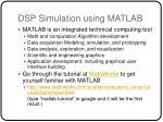 dsp simulation using matlab