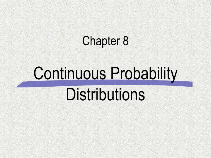 continuous probability distributions n.
