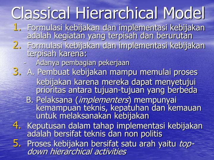 Classical Hierarchical Model