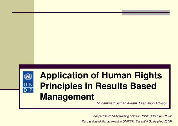 application of human rights principles in results based management n.