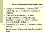 human rights based performance indicators cont d