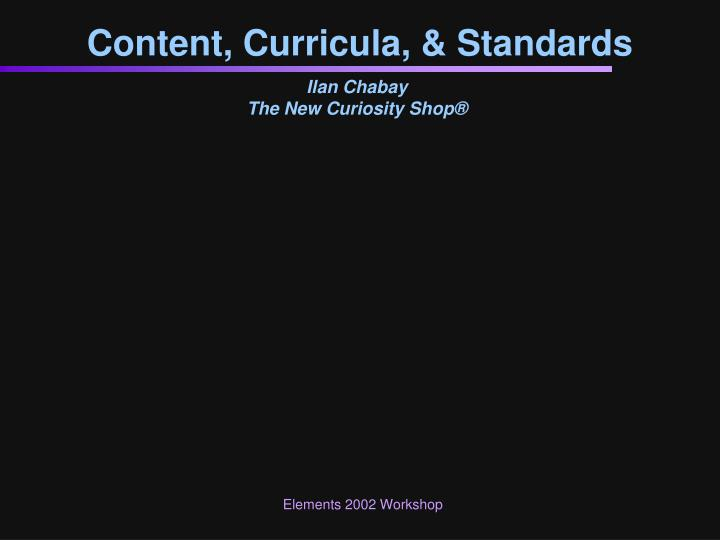 Content curricula standards