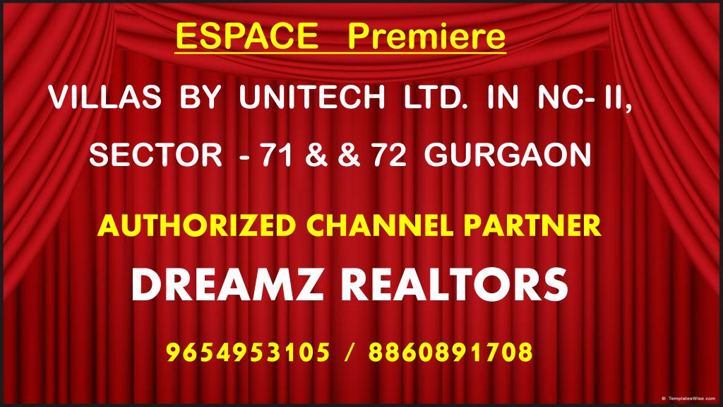 espace premiere villas by unitech ltd in nc ii sector 71 72 gurgaon l.