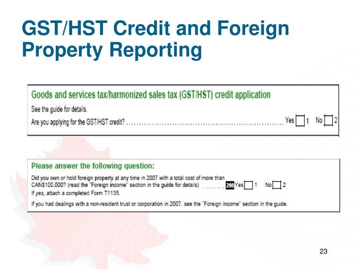 GST/HST Credit and Foreign Property Reporting