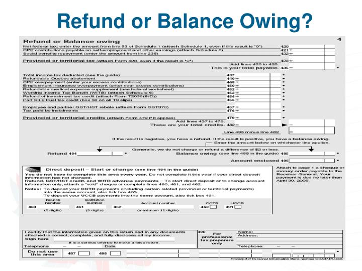 Refund or Balance Owing?