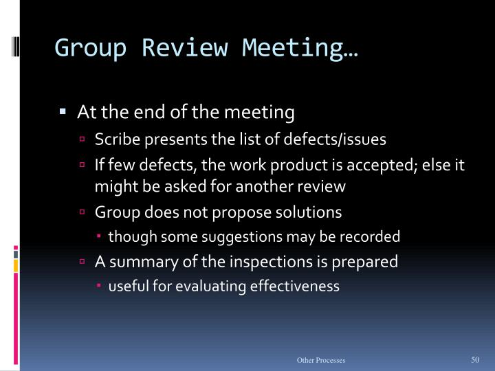 Group Review Meeting…
