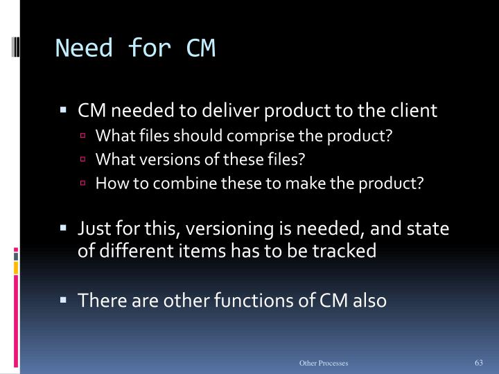 Need for CM