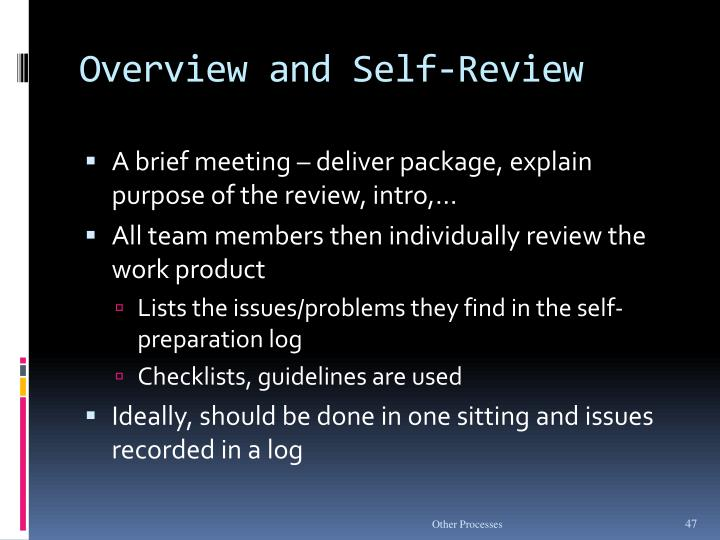 Overview and Self-Review