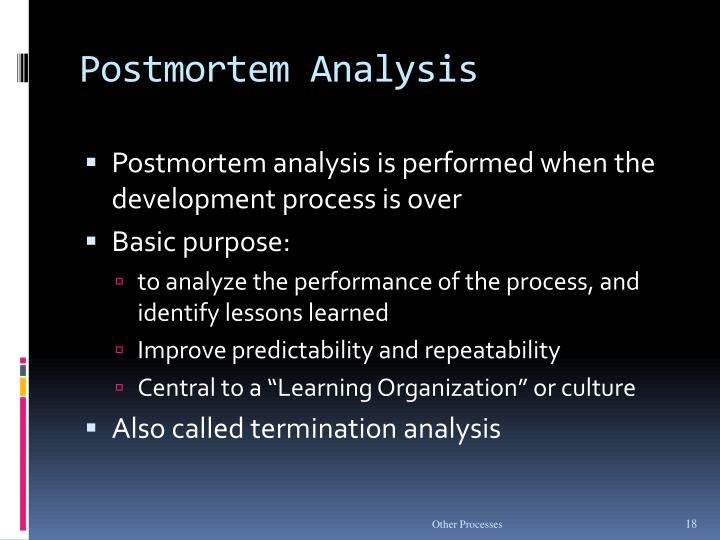 Postmortem Analysis