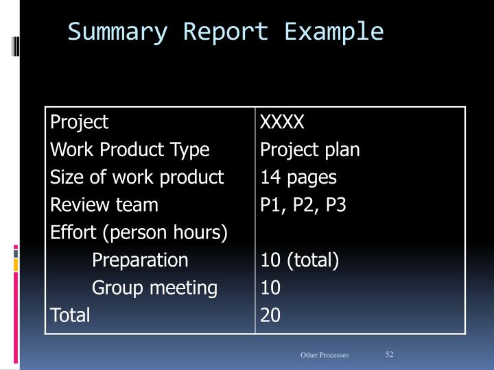 Summary Report Example