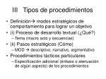 iii tipos de procedimientos