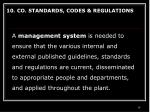 10 co standards codes regulations