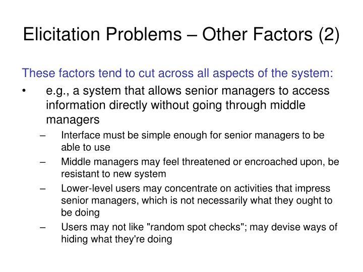Elicitation Problems – Other Factors (2)