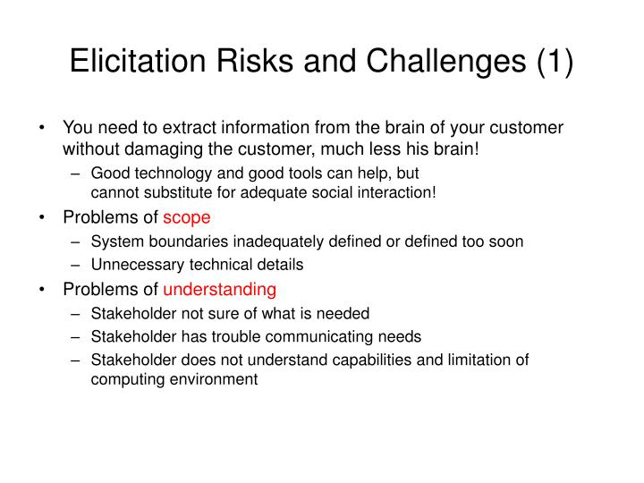 Elicitation Risks and Challenges (1)