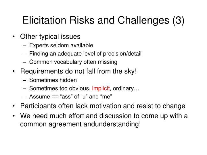 Elicitation Risks and Challenges (3)
