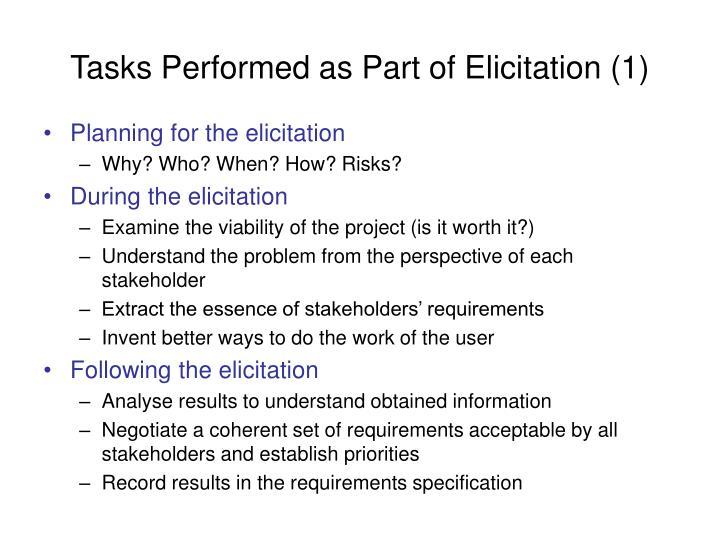 Tasks Performed as Part of Elicitation (1)