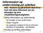 informasjon og undervisning p sykehus
