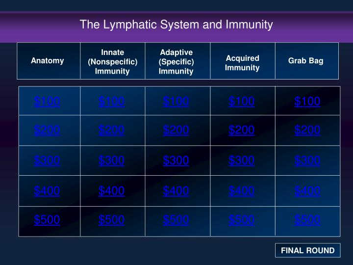 the lymphatic system and immunity n.
