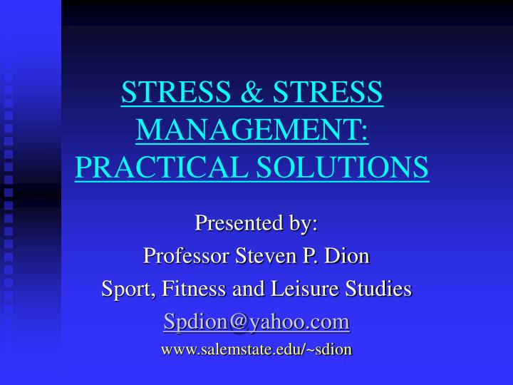 stress stress management practical solutions n.