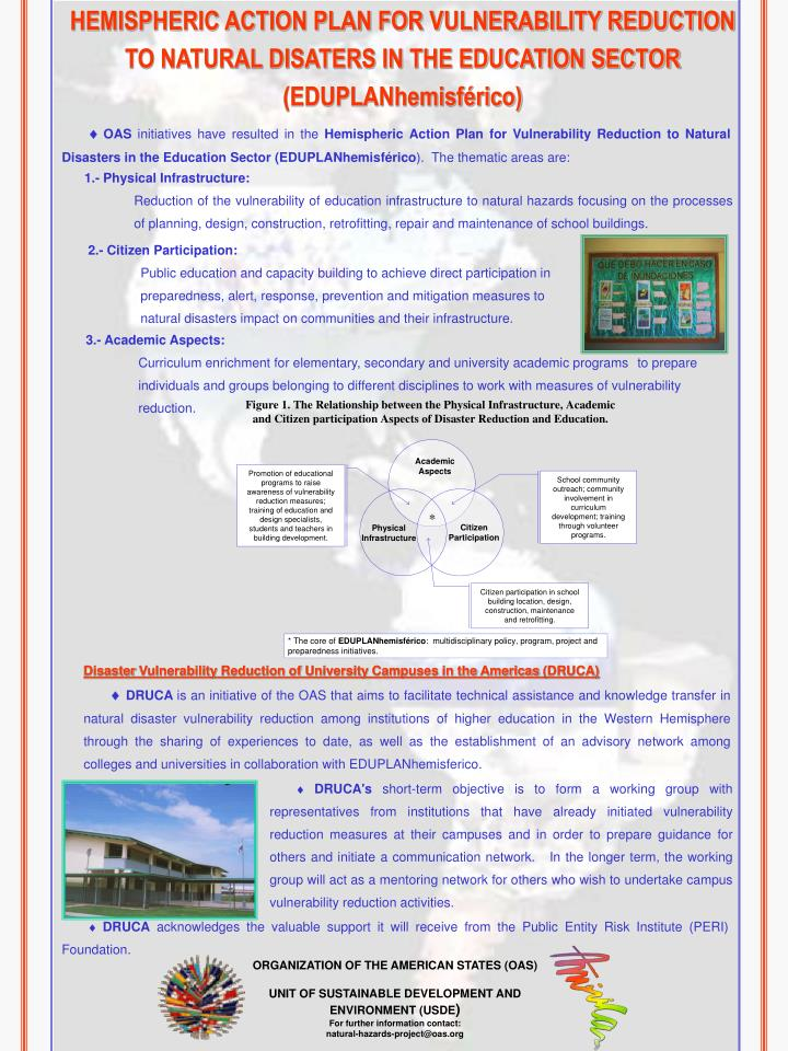 HEMISPHERIC ACTION PLAN FOR VULNERABILITY REDUCTION TO NATURAL DISATERS IN THE EDUCATION SECTOR (EDU...