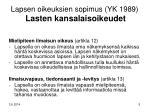 lapsen oikeuksien sopimus yk 1989 lasten kansalaisoikeudet