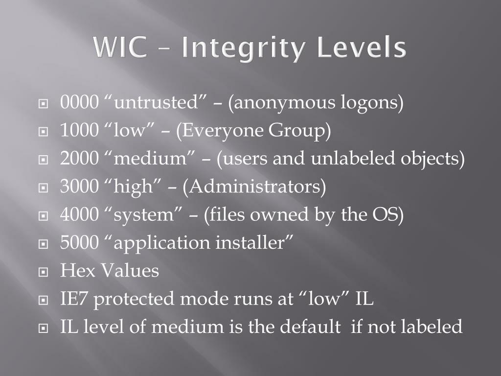 WIC – Integrity Levels