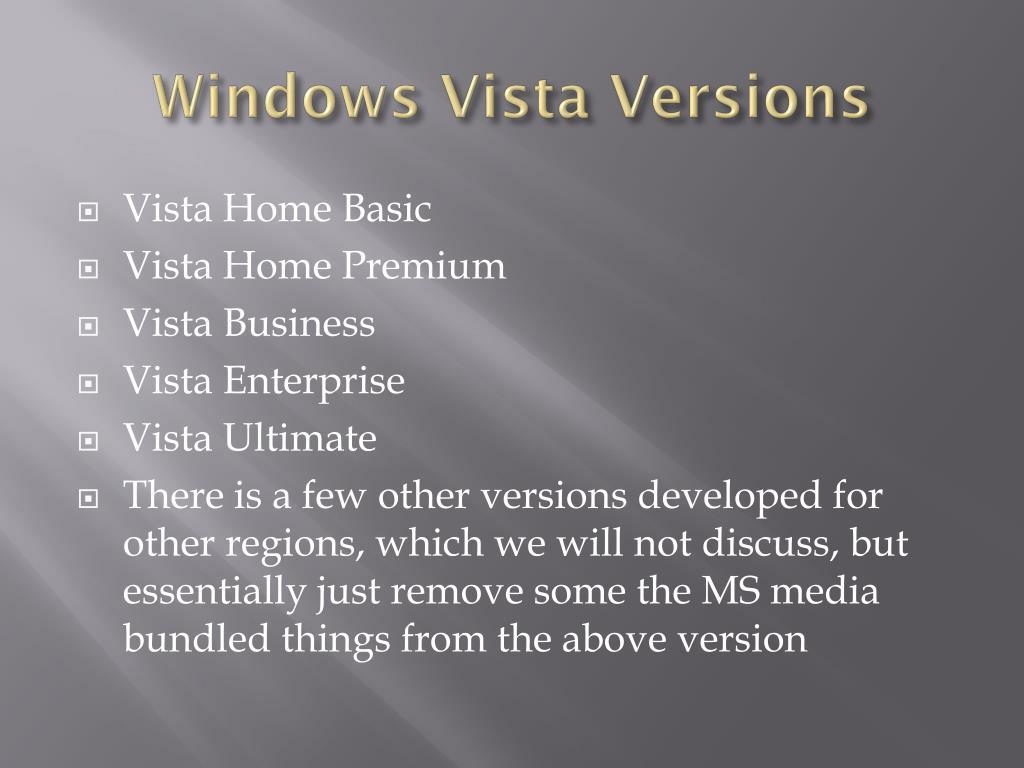 Windows Vista Versions
