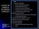 causas de embolia de origen cardiaco