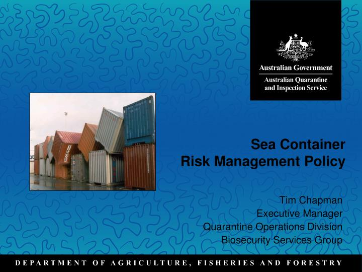 sea container risk management policy n.