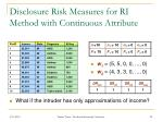 disclosure risk measures for ri method with continuous attribute