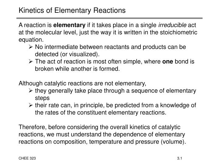kinetics of elementary reactions n.