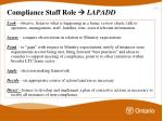 compliance staff role lapadd