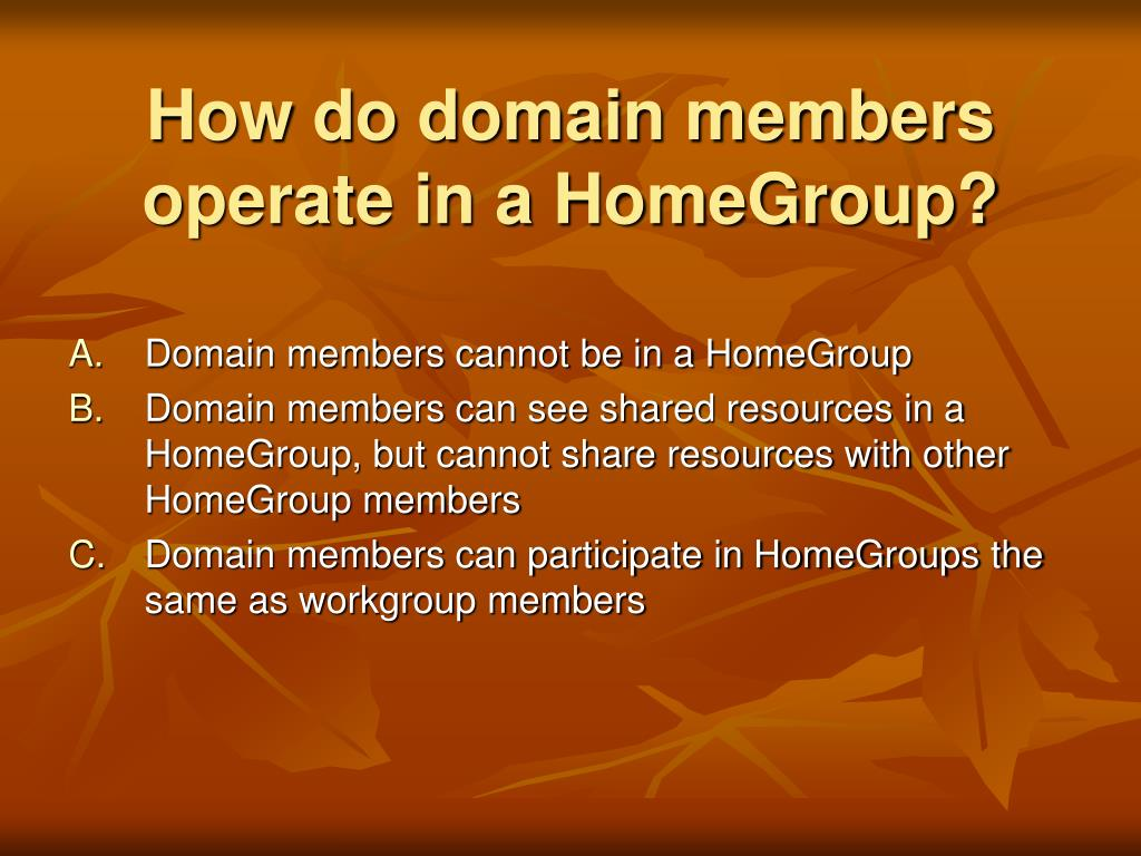 How do domain members operate in a HomeGroup?