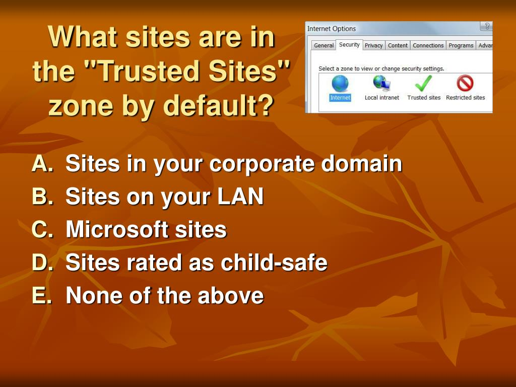 """What sites are in the """"Trusted Sites"""" zone by default?"""