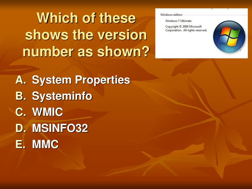 Which of these shows the version number as shown?
