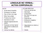 lenguaje no verbal actos corporales