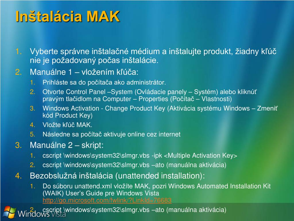 Inštalácia MAK