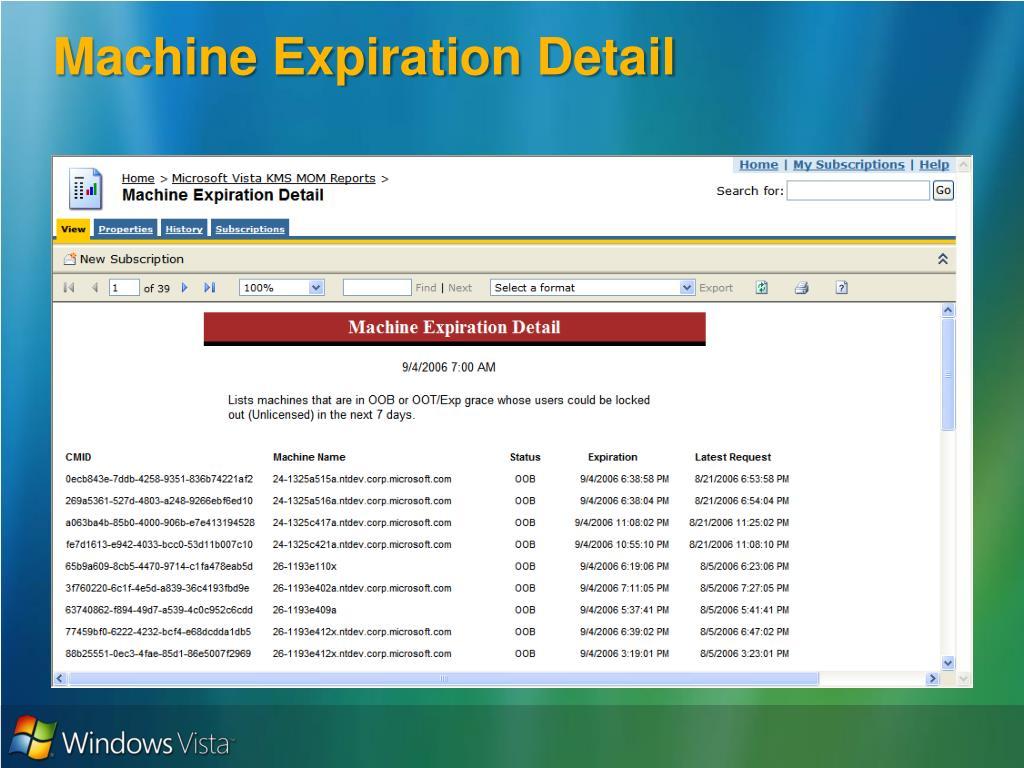 Machine Expiration Detail