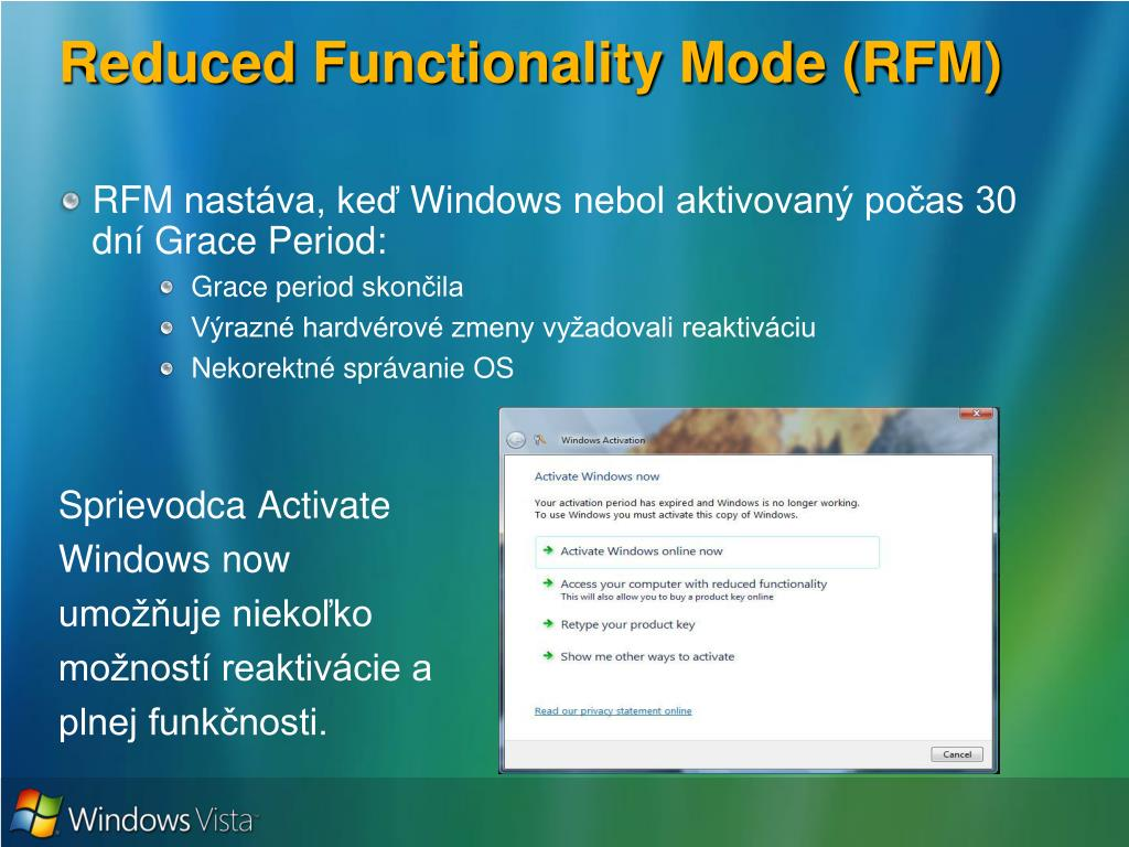 Reduced Functionality Mode (RFM)