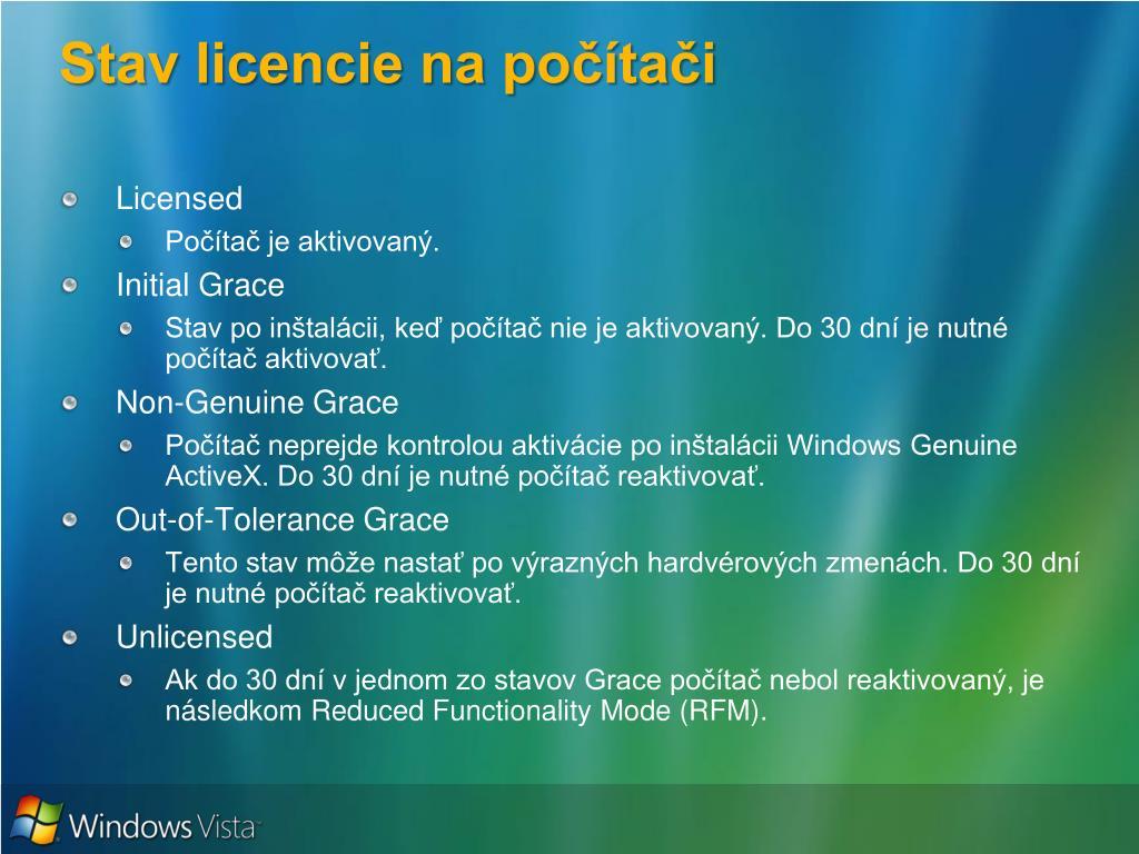 Stav licencie na počítači