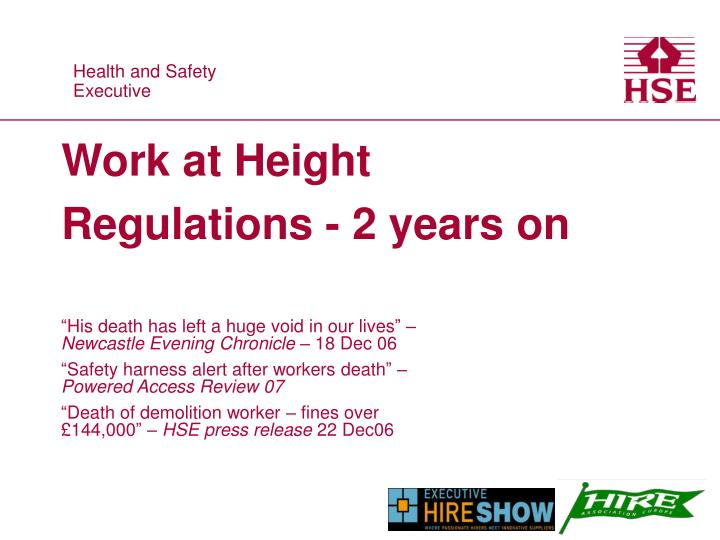 work at height regulations 2 years on n.