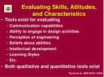evaluating skills attitudes and characteristics