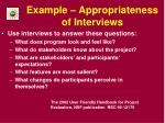 example appropriateness of interviews