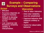 example comparing surveys and observations