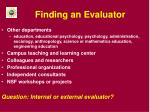 finding an evaluator