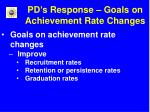 pd s response goals on achievement rate changes