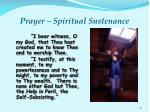 prayer spiritual sustenance