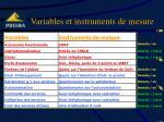 variables et instruments de mesure