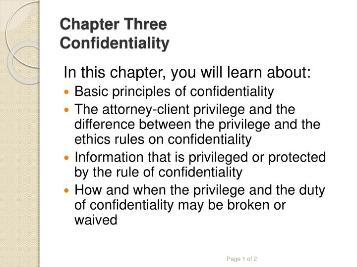 chapter three confidentiality n.